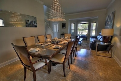 Dining room with ample seating, opens to Living room, spacious entertaining area