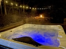 Lighted deck & back yard w/ corn hole, fire pit, hot tubs