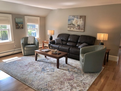 Living room with leather reclining sofa and leather swivel club chairs