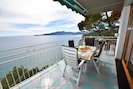 Private Balcony with electric sunshades, table w/ chairs