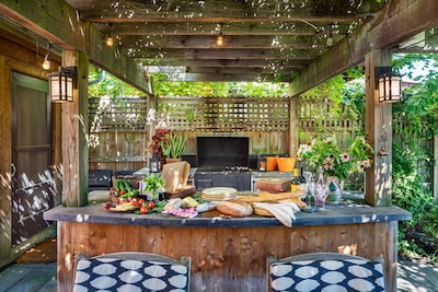 Summer - Al Fresco dining in the outdoor kitchen and eating from the raised beds