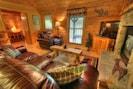 Plush Queen size sleeper sofa in rustic chic surroundings.
