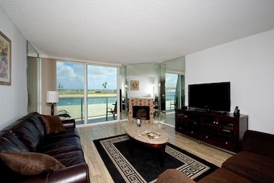 Living room with view of the bay