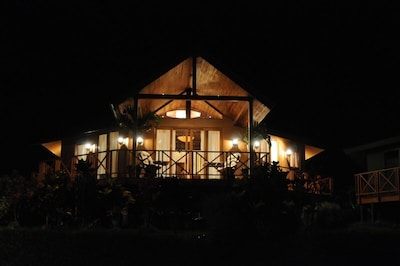 view of casa lago arenal at night