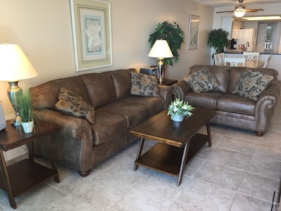 New living area furniture to watch TV and the amazing sunsets