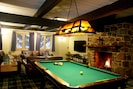 Great room with pool table, 60' 3D HDTV, DVD, Xbox w/Kinect and stone fireplace