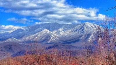 Snow capped mountain view