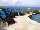 Travertine deck @pool with view of the Caribbean and Atlantic.  Whale watching!!