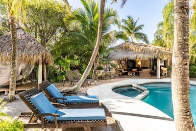 A tropical oasis for outdoor living.