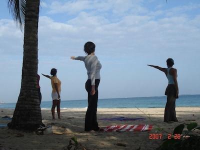 Yoga on our beach (Ocean Park/Condado beach)
