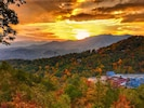 Incredible Sunrise Views, overlooking Mt LeConte, Ober Gatlinburg, & Ariel Tram