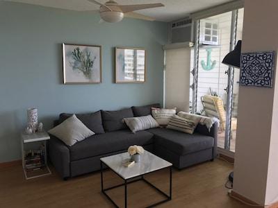 Living room, ocean views all around