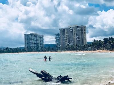 Playa Azul Complex from a short distance. Photo taken during an am beach stroll.