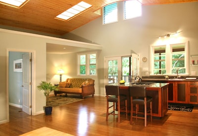 Spacious kitchen and cozy living area