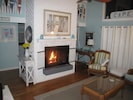 Beautiful see-through fireplace turns on with the flip of a switch!What ambiance