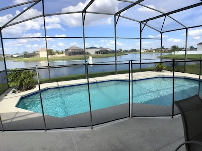 Pool has child's safety fence, can be set to one side if all swimmers.