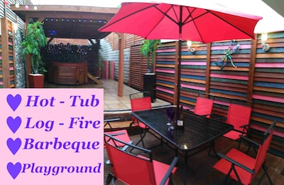Terrace with Hot Tub and Barbecue - massive Gazebo for protection all weathers