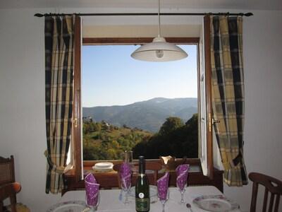 Vue de la cuisine sur le massif des Htes Vosges