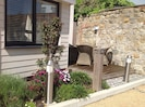Outside seating area, sun trap and private