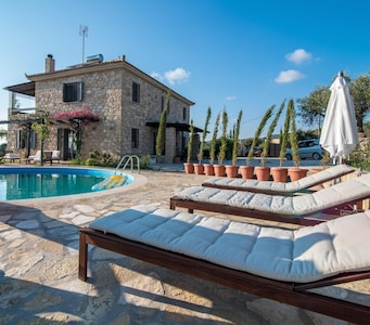 Sunny pool & south patio with views of the Ionian sea and Kyparissia mountain