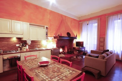 living room with the kitchenette