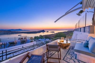 Panoramic sea view of Lindos main harbor from the veranda!!!