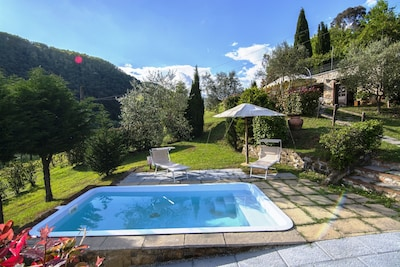 Private pool with equipped lawn