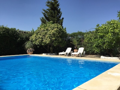 Delightful 4 bed Andalusian house with private pool on edge of pine forest