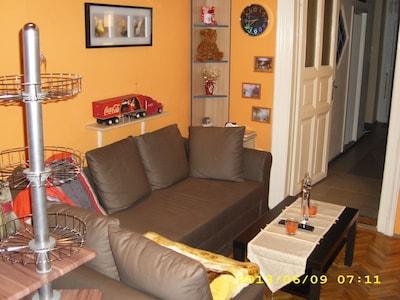 Wohnbereich mit Schlafcouch und  Flat-TV