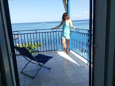 La terrasse vue de la chambre et dominant la baie
