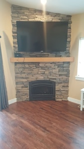 gas Fireplace.  TV pulls down and swivels
