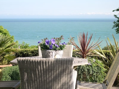 Sheltered south facing patio overlooking St Margaret's Bay and the French Coast.