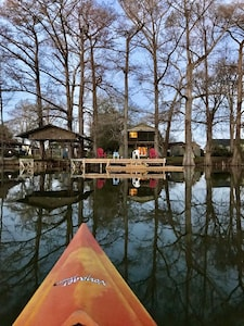 View of the fish camp from the water during winter.