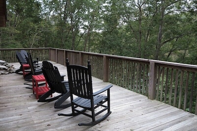 The upper deck is a great place to sit and watch nature or to entertain guest