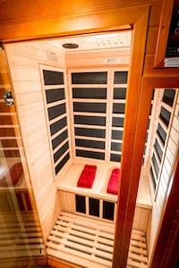 1-2 person infared sauna in bathroom.
