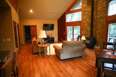 Living Room w/wood burning stove and flat screen TV