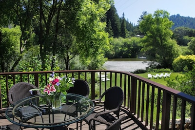 Looking from the deck to the Russian River and summer island
