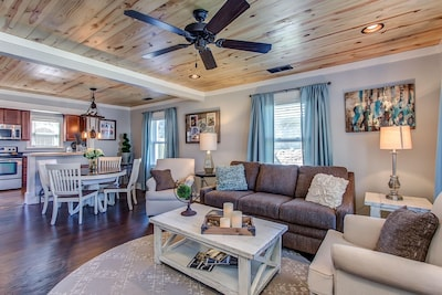 Open space living area greets you as you walk in front door.