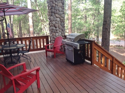 Relax on the redwood deck