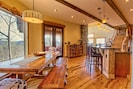 Plenty of seating at Kleinhaus, a 7ft farmhouse table and a breakfast bar.
