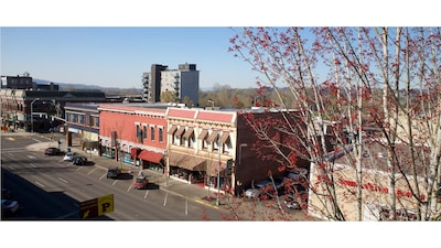 Aerial view of the building and Commercial St. Downtown Salem