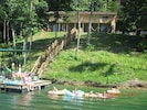 Guests having fun on their private dock.