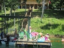 Guests enjoying their private dock and covered boat slip.