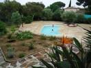 Vue de la terrasse sur la piscine, dans un cadre verdoyant