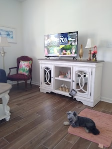 Hallway into Living Room with TV and Mirrored TV Stand