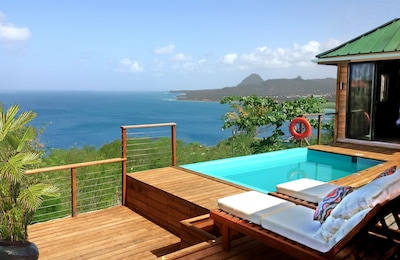 From the deck, views out to the Caribbean Sea and the UNESCO  Heritage Pitons