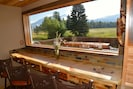 Breakfast bar with huge picture window to watch herds of elk and deer