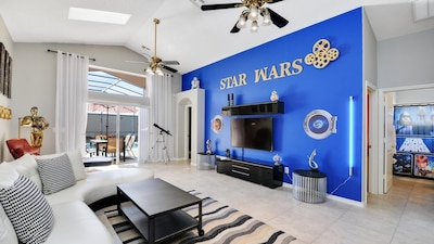 Living area with 65 `led smart tv