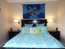 Master Bedroom- King Bed- End Tables- Lighting- Custom Hand Quilted Ocean Turtle