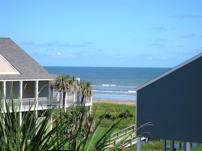 View of walk over bridge to beach